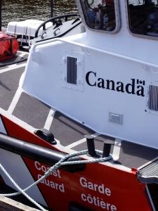 A Coast Guard ship at dock.
