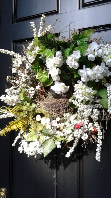 Wreath with pretend and real nests