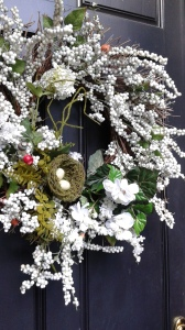 wreath with pretend nest